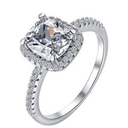 Cushion Cut 18K White Gold Diamond Engagement Ring Women Accessories Jewelry