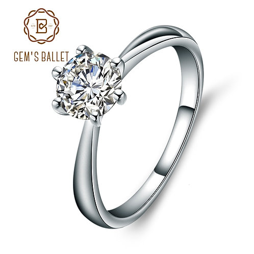 White Simulant Diamond Engagement Ring 925 Sterling Silver Band Ring Jewelry