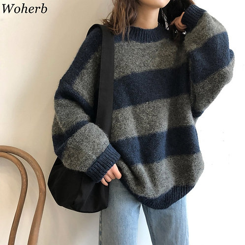 Thin Sweater Vintage Striped Loose Pullover Streetwear Autumn Knitted Jumper