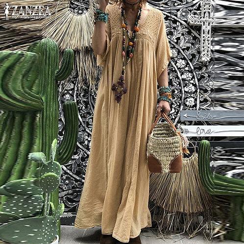 Lace Crochet Maxi Dress Sundress Pleated Half Flare Sleeve