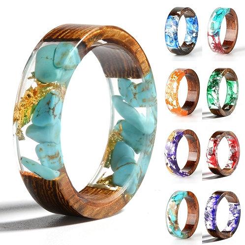 Resin Ring Fashion Handmade Dried Flower Wedding Jewelry Love Ring