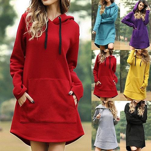 Spring Autumn Solid Women's Sweatshirt Loose Hooded Pocket Drawstring