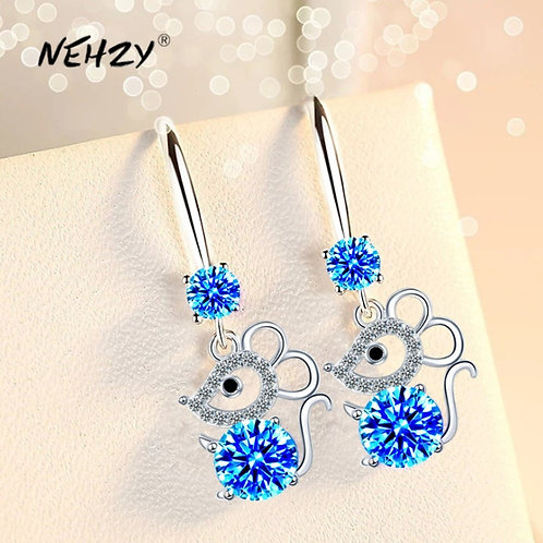 925 Sterling Silver New Woman Fashion Jewelry High Blue Pink Mouse Earrings