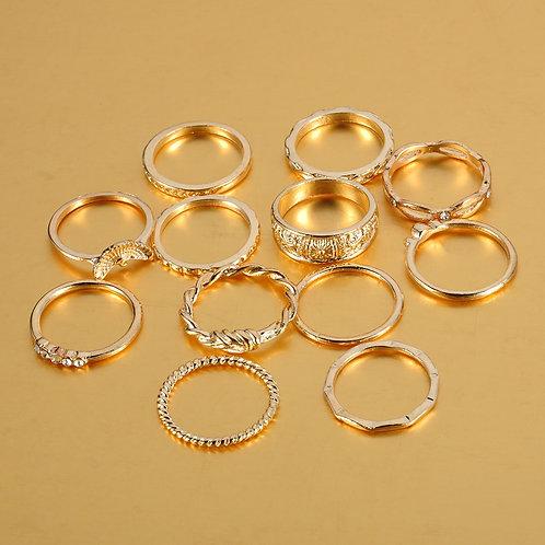 12pcs/Set Bohemian Vintage Gold Color Rings Rhinestone Lucky Rings Set Women