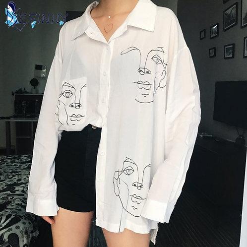 New Summer Blouse Shirt Cotton Face Full  Long Shirts Women Tops Ladies Clothing