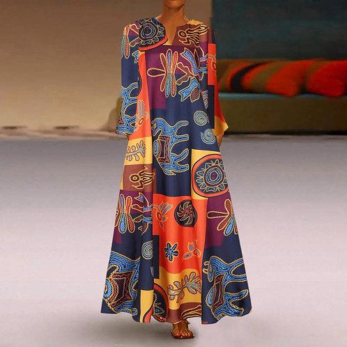 @ Women Elegant Party Dress Plus Size Print Long Sleeve  Dress v Neck Maxi Dress