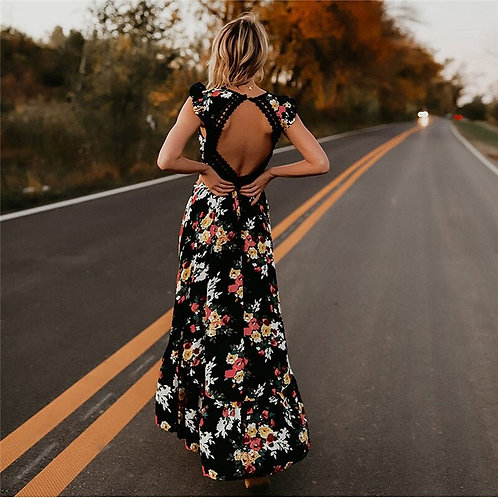 Long Dress Casual Open Back Irregular FloralDress Deep v Neck Sexy Party Dresses