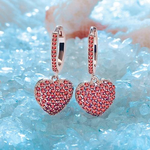 Shiny Micro Fashion Woman Lovely Heart Pendant  Earrings Brincos Bridal Jewelry