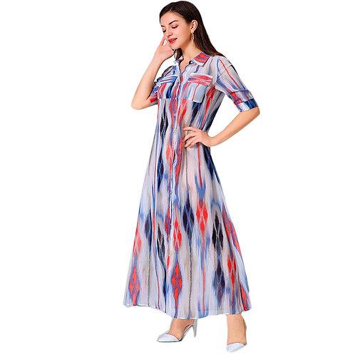 Shirt Dress Short Sleeve Sexy Club Maxi Long Dresses for Women Clothes