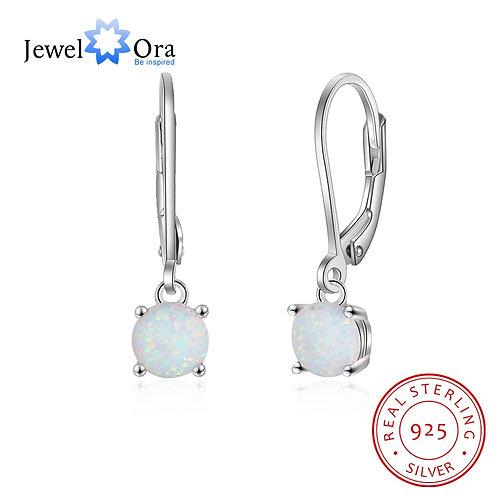Style 925 Sterling Silver White Opal Earrings for Earrings (Jewelora EA103241)