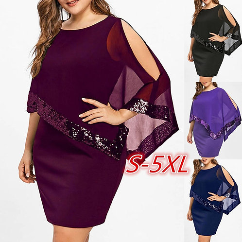 Cold Shoulder Overlay Asymmetric Chiffon Strapless Sequins Mini Party Dresses