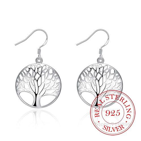 925 Sterling Silver Earring Tassel Vintage Tree of Life Long Wedding Jewelry