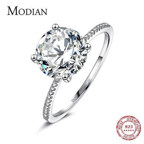 Solid 925 Sterling Silver Ring 3Ct 10 Hearts Arrows Zircon Wedding Jewelry Ring