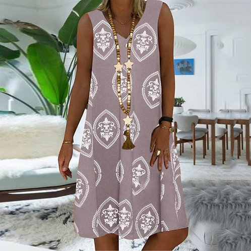 S-5xl Plus Size Dress Printing Short Sleeve a Line Midi Dress Retro Printed