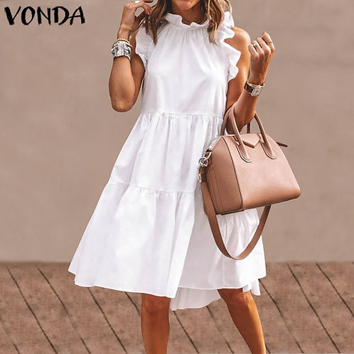 Sexy Mini Dress Women Ruffled Dress 2021 Summer Beach Sundress   Plus Size