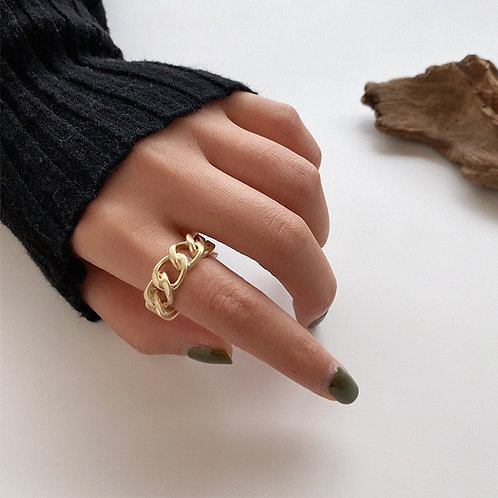 Gold Silver Color Chunky Chain Ring Vintage Open Rings Adjustable Trendy Jewelry