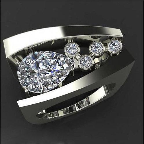 Women's Geometric Three-dimensional Diamond Ring