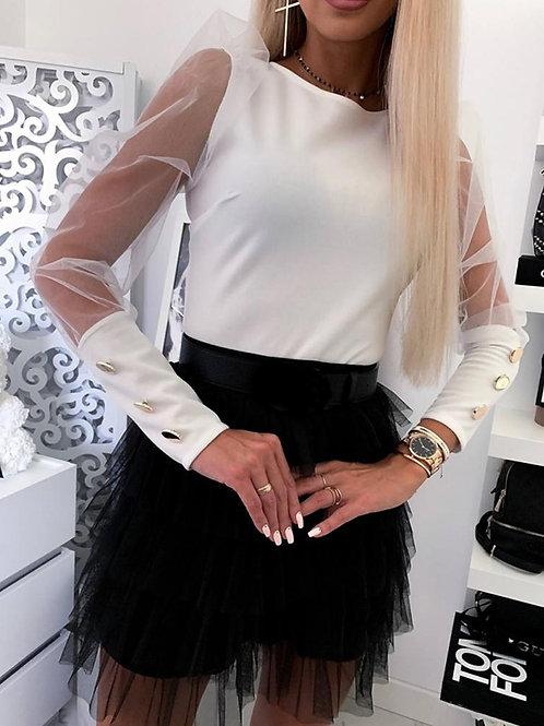 New Women Slim Long Sleeve Shirts Cuff Mesh  Female Puff Shoulder O-Neck Shirts