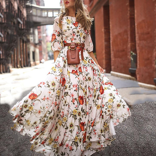 Floral Print Women Summer Dress Half Sleeve Bohemian Swing Maxi Dresses