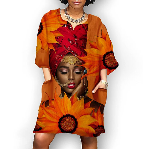 Women's Style Dress Women Fashion  Sleeve v Neck Dress Plus Size Women Clothing