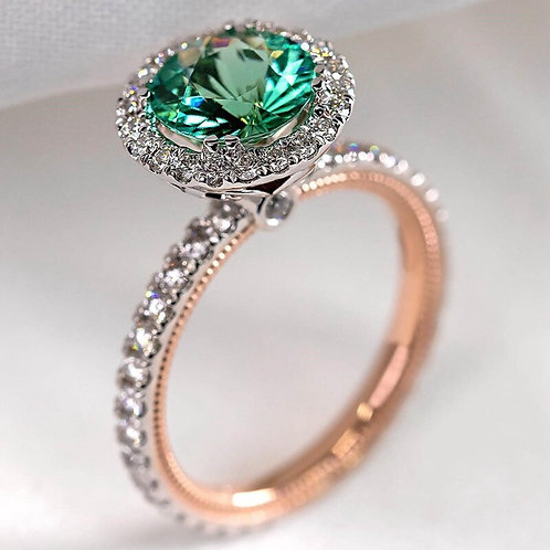 Gorgeous Round Green Stone Wedding Rings Crystal Zircon  Ring Classic Jewelry