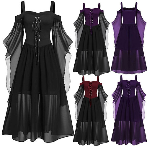 Womne Plus Size Cold Shoulder Butterflies SleeveUp Gothic Style Halloween Dress