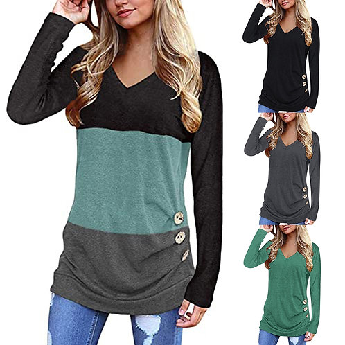 2021 Women Long Sleeve Shirts Trim Blouse Patchwork V-Neck Tunic Pullover Tops