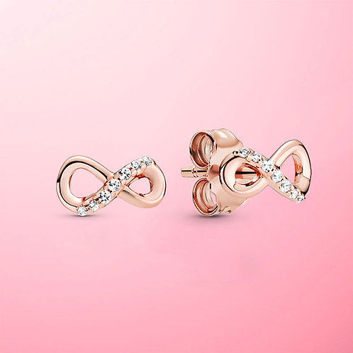Real 925 Sterling Silver Infinity Stud Earrings for Women S925 Jewelry Gift