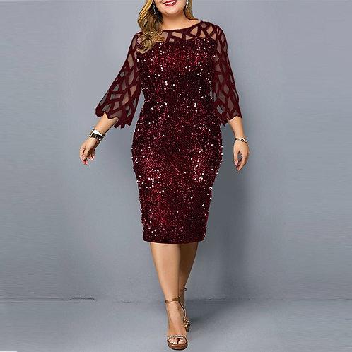 Party Dresses Sequin Plus Size Women's Dress  Sexy Red Dress  Dress