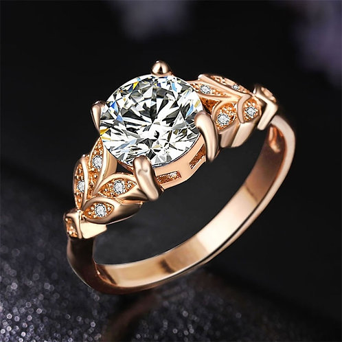 1PC Hot Crystal Silvery Women Leaf  Girls White Rose Golden Ring Size 6 7 8 9