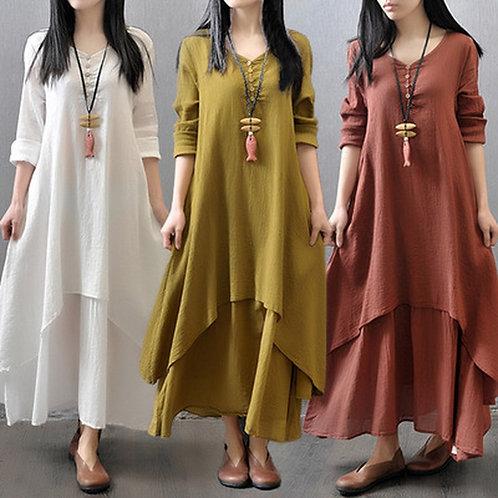 Red Dress Femme Long Dress Plus Size Dress and Linen Dresses for Women Clothing