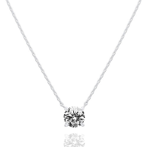 White Gold Plated Swarovski Crystal Solitaire