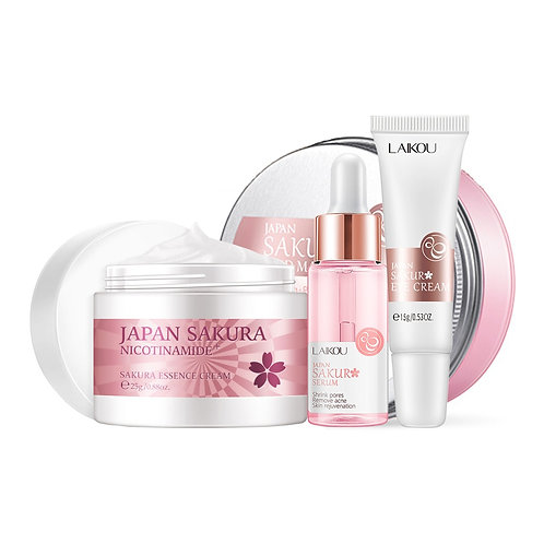 Face Skin Care Set Cherry Eye Cream & Face Serum & Facial Mask Beauty Makeup Set