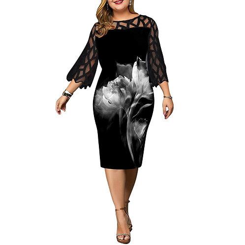 Women's Dress 4xl 5xl 6xl Plus Size for Mesh Black Party Dress Sexy Clothing