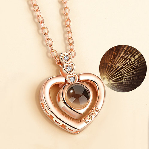 Rose Gold I Love You Pendant Necklace Romantic Love Lover Necklaces Gift