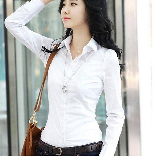 New Fashion Summer Women's  Lady Party Long Sleeve Slim Solid White Shirt Tops