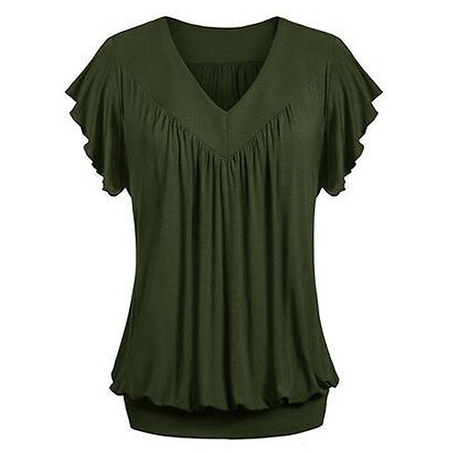 Plus Size Fashion Women Ladies Solid Pleated v Neck Loose Tunic Summer Female