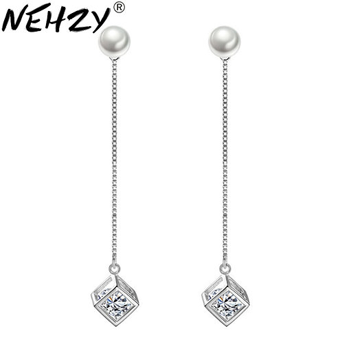 925 Sterling Silver New Woman Long Section Tassel Exaggerated Cube Luxury
