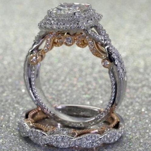 14 K Gold Plated Square Diamond Princess Ring