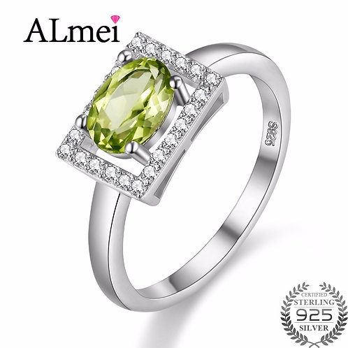 Diamond Jewelry 1ct Ring 925 Sterling Silver Natural Green Stone 40%off FJ056