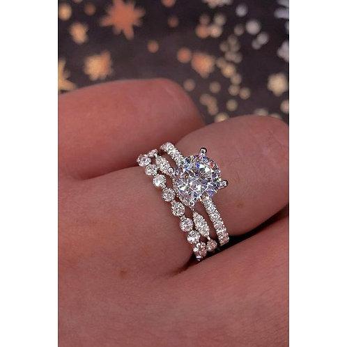925 Sterling Silver White Sapphire Diamond Ring Set