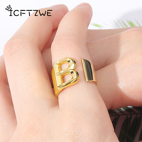 Steel A-Z Letter Ring Ladies Meaningful Christmas Jewelry Gift