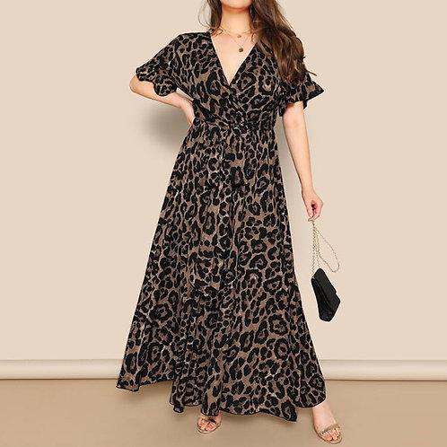 Leopard Print V-Neck Short-Sleeved Belted Part Dress