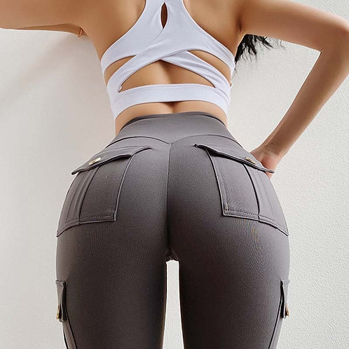 Solid High Waist Push Up Polyester Workout  Cargo Pants Casual Hip Pop Pants