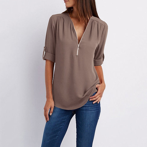 Summer Women Chiffon Blouse  Size Femme V-Neck Roll Up Summer Casual Clothing
