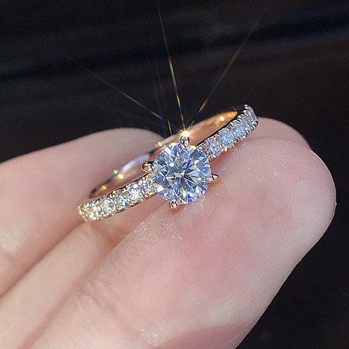 Silver Color Rhinestones Inlaid Woman Rings