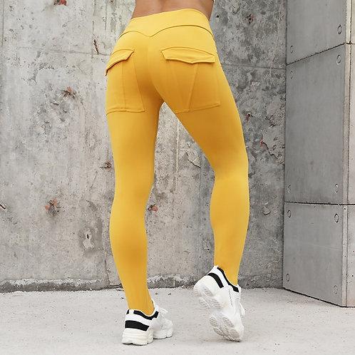 Women High Waist Elastic Push Up With Length Legging Casual Yellow Leggings