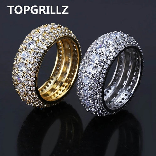 Out Cubic Zircon Bling Round 10mm Ring Gold Silver Color CZ Jewelry Rings Gifts