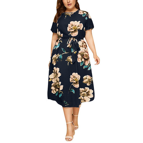 O-Neck Short Sleeve Flower Print Waist Strap Dress for Ladies