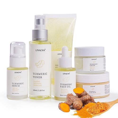 New Vegan Skin Care Anti Acne Cream Serum Oil Cleanser Turmeric Skin Care Set
